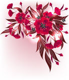 Red flower. Decorative floral background with red flower pattern Royalty Free Stock Image