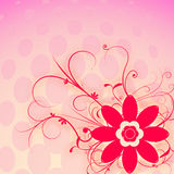 Red flower. Red abstract flower on pink background with pink bubbles Stock Image