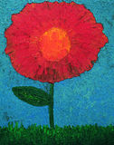 Red Flower. Painting of a single red flower in the grass Royalty Free Stock Photos
