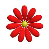 Red Flower. Isolated against the white background. 3d model royalty free illustration