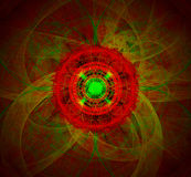 Red Flower And Abstract Fractal Stock Photo