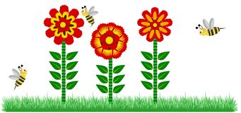 Red Flower and Bees Illustration Background Vector Illustration