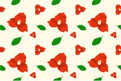 Red flower bloom. Beautiful with green leaf pattern background illustration for print media stock illustration