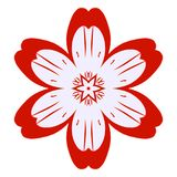 Red flower blossom flat icon simple bloom stock illustration