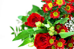 Red flower bouquet. Flower bouquet with red roses and chrysanthemums Stock Photography