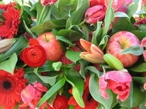 Red flower bouquet. Red tone flower background wallpaper Stock Image