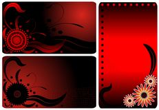 Red flower business cards Stock Photo
