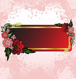 Red Flower card on the pink spray Stock Photos