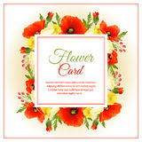 Red flower card square Stock Photography