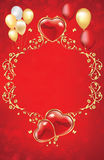 Red flower decorative background with hearts and balloons Royalty Free Stock Photo