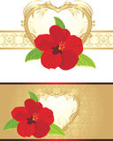 Red flower on the decorative ribbon with heart Stock Photography