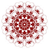 Red  flower. Decorative  red  flower with vintage round patterns Royalty Free Stock Photos