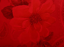 Red Flower design on silk fabric Stock Photos