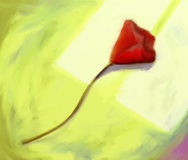 Red Flower - Digital Painting. Digital still-life painting of a single red flower lying on a table Royalty Free Stock Photos