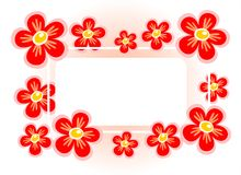 Red flower frame Stock Image