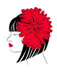 Red flower. Girl with a red flower in her hair royalty free illustration
