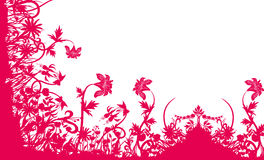 Red flower and grass pattern Stock Images