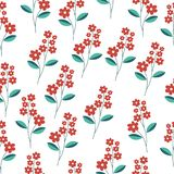 Red flower and green leaves seamless pattern. Red flower background royalty free illustration