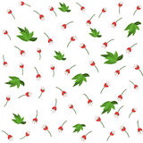 Red flower and green leaves seamless pattern for your wallpaper Royalty Free Stock Photo