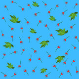 Red flower and green leaves seamless pattern for your wallpaper Stock Photos