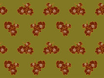 Red flower on green pattern Stock Photography