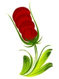 Red flower. Hand drawn, , illustration in Ukrainian folk style Royalty Free Stock Photography