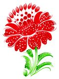 Red flower. Hand drawn, , illustration in Ukrainian folk style Stock Images