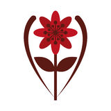 Red flower icon. Flat design red eight petal flower with brown stem and leaf icon  illustration Stock Photo