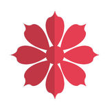 Red flower icon. Flat design red eight petal flower icon  illustration Stock Photography