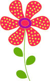 Red Flower Illustration. Red with yellow polka dots flower illustration, green leaves, nature flora, plants Stock Photography
