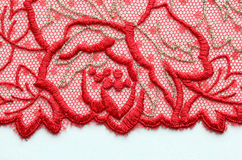 Red flower lace material texture macro shot Stock Photo