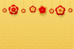 Red Flower lanterns on the golden background. Design for Chinese New Year. Vector illustration EPS10 royalty free illustration