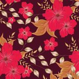 Red flower with leaves decorated on brown seamless pattern backg. Round royalty free illustration