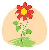 Red flower on light orange background - vector Royalty Free Stock Photos