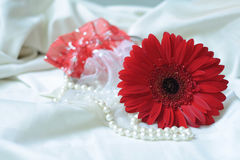 Red flower and necklace Stock Image