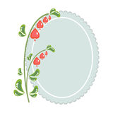 Red flower and an oval frame Royalty Free Stock Photo