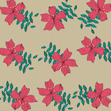 Red flower pattern background Stock Photo