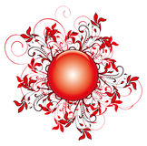 Red flower pattern and round Royalty Free Stock Image