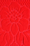 Red flower pattern wool textile Royalty Free Stock Photo