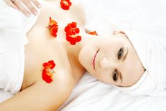 Red flower petals spa Stock Photo