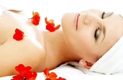 Red Flower Petals Spa 2 Stock Image