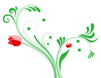 Red flower and plant pattern Stock Image