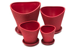 Red flower pot Stock Photo
