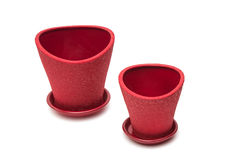 red flower pot Royalty Free Stock Photo