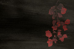 Red Flower print on Black Coconut Paper Royalty Free Stock Photos