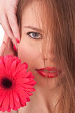 Red flower, red lips, red nails. The beautiful girl with red flower, red lips and red nails Stock Photography