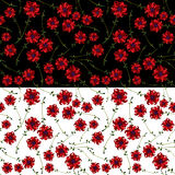 Red flower seamless pattern. Royalty Free Stock Images