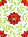 Red flower seamless pattern. With green leaves Stock Photos