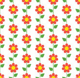 Red Flower Seamless Pattern. Floral seamless pattern with red chamomiles Stock Photo