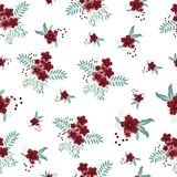 Red flower seamless pattern. Vintage red flower background stock illustration